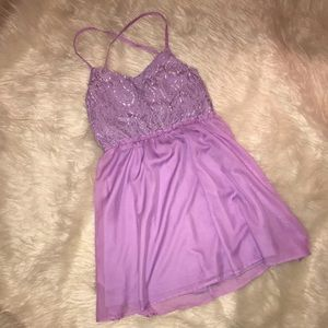 Purple Baby Doll Dress with Lace detail top